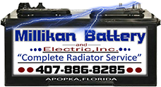 Millikan Battery and Electric Inc header logo